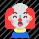 clown, emoji, halloween, horror, monster, scary, surprised icon