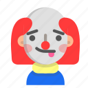 clown, emoji, halloween, horror, monster, scary, tongue icon