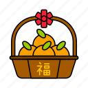 asian, basket, chinese, culture, mandarin, orange, tangerine icon
