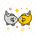 asian, chinese, couple, culture, fish, golden fish, silver fish icon