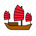 asian, boat, chinese, culture, junk, sailing ship, ship icon