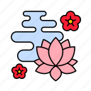 asian, chinese, cloud, culture, flower, lotus icon