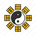 asian, bagua, chinese, culture, yin yang icon