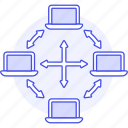 coding, connect, connection, data, laptop, network, server, transfer icon