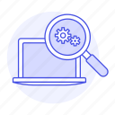 coding, laptop, magnifier, preferences, search, setting icon