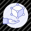 3d, coding, cube, development, hand, module, programming, software icon