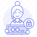 authentication, coding, encrypt, female, lock, password, programming, security icon