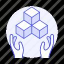 box, coding, cube, hand, module, plugin, programming, script icon