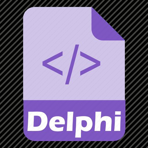 code, coding, delphi, extension, file, language, programming icon