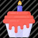 candle cupcake, birthday cupcake, sweet, dessert, editable