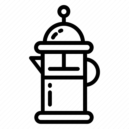 breakfast, coffee, filter, french, pot, press, tea icon