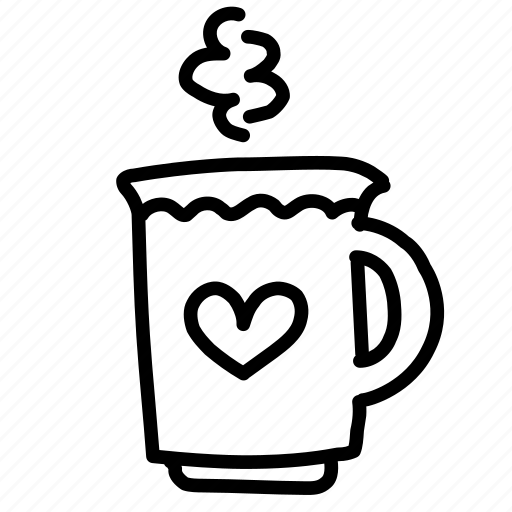 breakfast, coffee, cup, heart icon