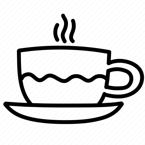cappuccino, coffee, cup, hot, latte, morning, wave icon