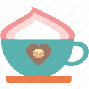 coffee, cream, cup, drink, foam, glass, hot icon