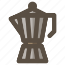 coffee, coffee maker, moka express, moka pot icon
