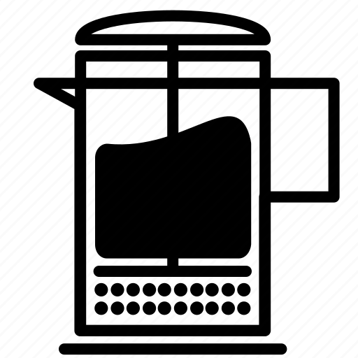 brew, coffee, drink, frenchpress, plunger icon