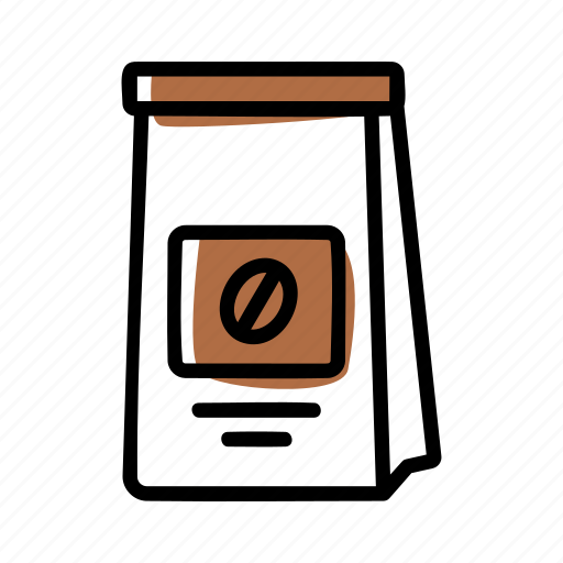 coffee, coffee bean, packaging, pouch icon