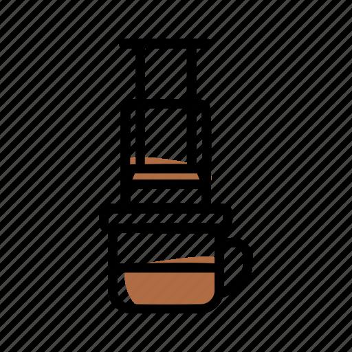 aeropress, brewing methods, coffee, manual brew icon