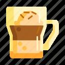 affogato, coffee, cream, ice cream