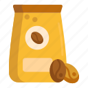 coffee, coffee beans, pack, packaging icon
