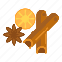 cinnamon, hazel, spice, spices icon