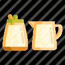 milk, pitcher, sugar