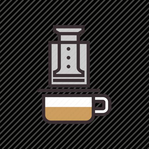 aeropress, coffee, drink, pot, press icon