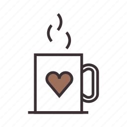 beverage, coffee, cup, drink, hot, love, mug icon