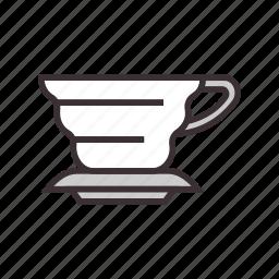 brew, coffee, drip, shape, v icon