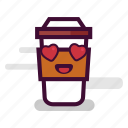 caffeine, cappuccino, coffee, cup, love, takeaway, valentine icon