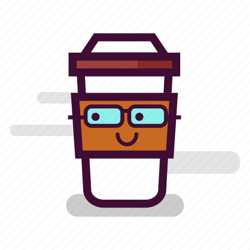 caffeine, cappuccino, coffee, cup, glasses, nerd, takeaway icon