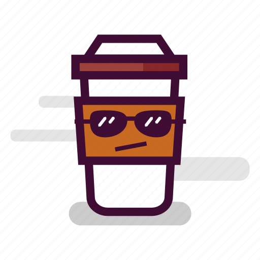 caffeine, cappuccino, coffee, cool, cup, sunglasses, takeaway icon
