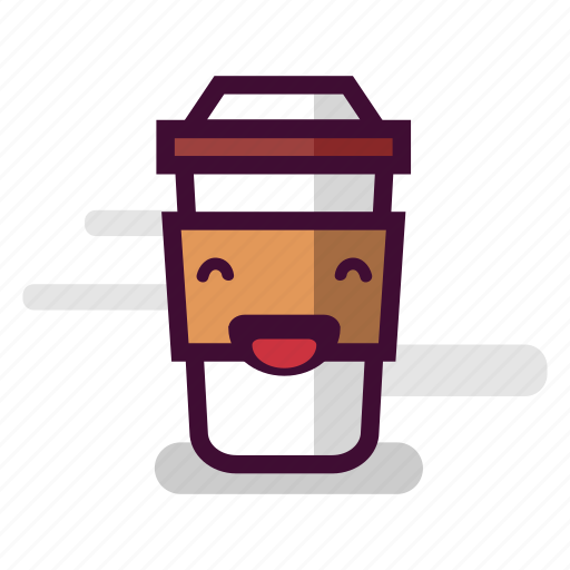 caffeine, cappuccino, coffee, cup, laugh, laughing, takeaway icon