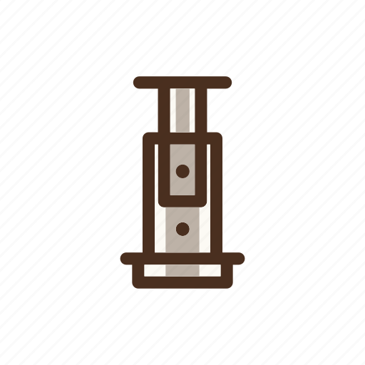 aeropress, brewing, coffee, color, filled, fresh, manualbrewing icon
