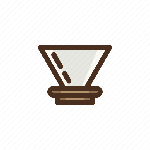 brewing, coffee, color, dripper, filled, pourover, v60 icon
