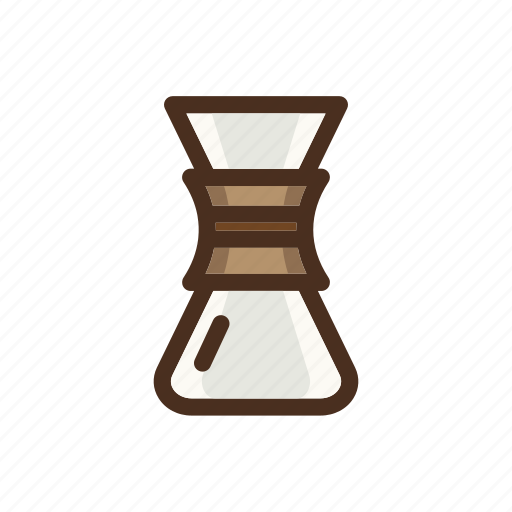 brewing, chemex, coffee, color, dripper, filled, pourover icon