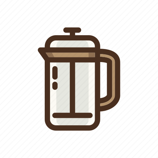 coffee, color, filled, frenchpress, manual, manualbrewing icon