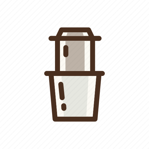 coffee, color, drip, dripper, filled, vietnam icon