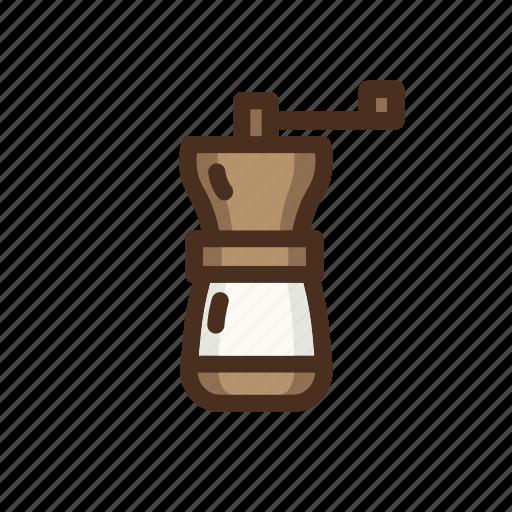 beans, coffee, color, filled, grinder, handgrinder, manual icon