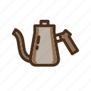 coffee, color, dripper, filled, kettle, pourover icon
