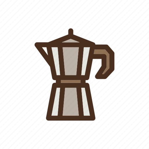 brewing, coffee, color, filled, manual, mocapot icon