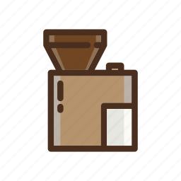 coffee, color, electric, filled, grinder, hoper icon
