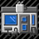 coffee, hospital, label, shop icon
