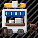 cafe, coffee, food, hospital, street, truck icon