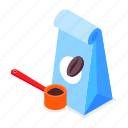 coffee, package, grind, spoon icon