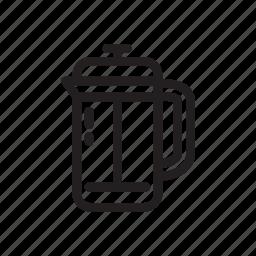 brewing, coffee, frenchpress, fresh, line, manual, manualbrewing icon