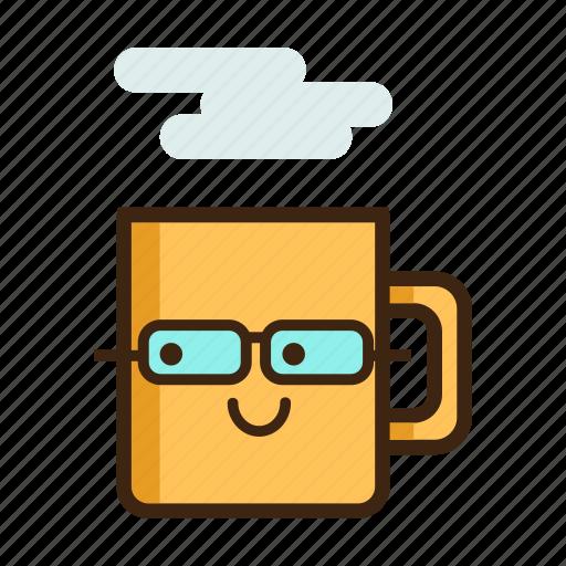 beverage, coffee, glasses, hot, mug, nerd, tea icon