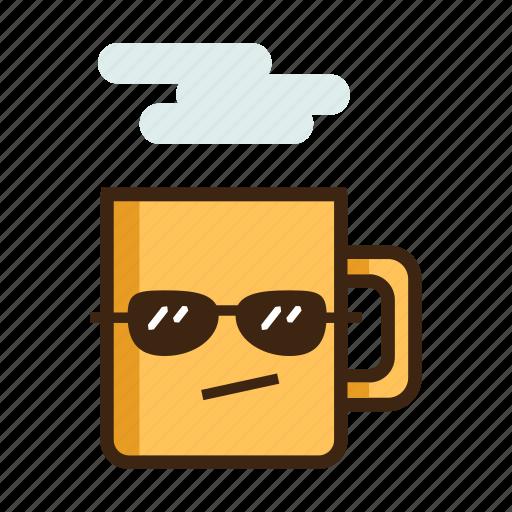 beverage, coffee, cool, hot, mug, sunglasses, tea icon