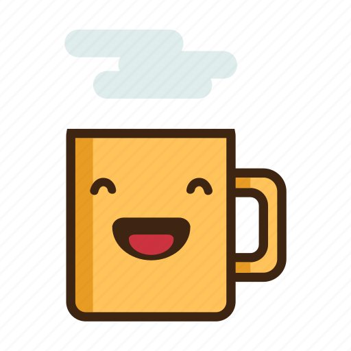 beverage, coffee, hot, laugh, laughing, mug, tea icon