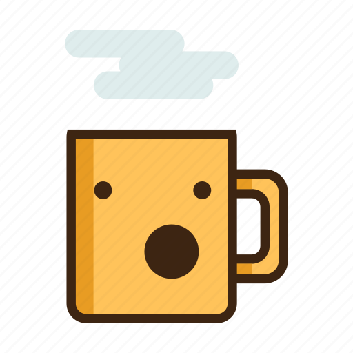 awe, beverage, coffee, hot, mug, surprised, tea icon